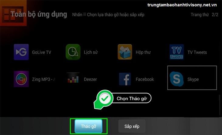 cách xử lí smart tivi chạy chậm, gỡ bỏ ứng dụng ít khi sử dụng