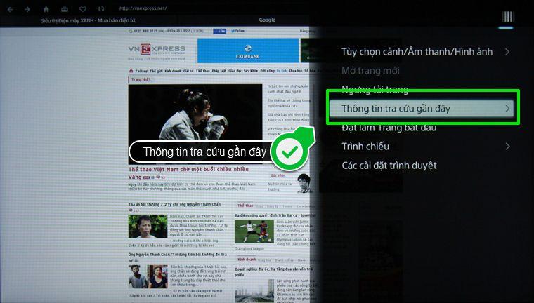 xóa lịch sử trình duyệt web smart tivi Sony - chọn thông tin tra cứu gần đây