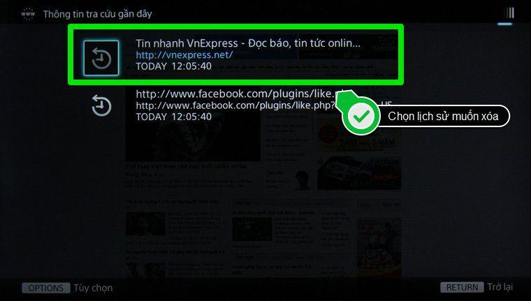 xóa lịch sử trình duyệt web smart tivi Sony - chọn lịch sử duyệt web muốn xóa