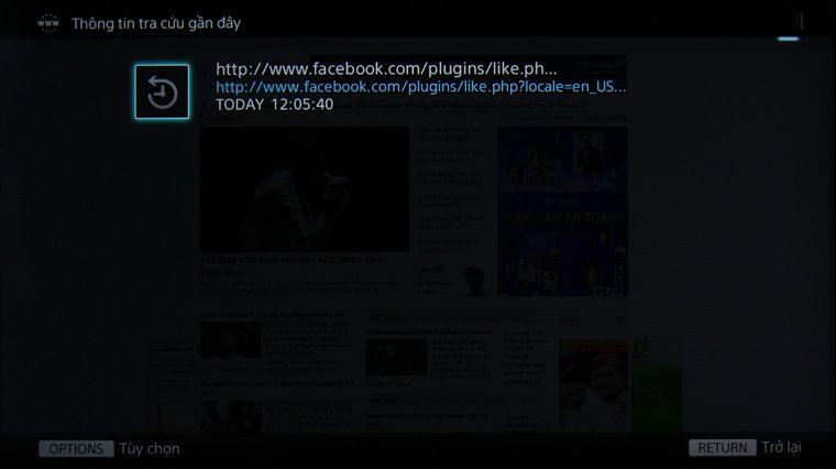 xóa lịch sử trình duyệt web smart tivi Sony - thành công
